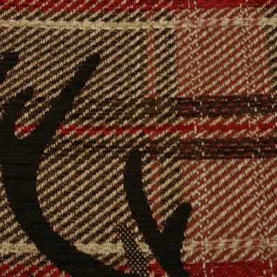 Дамаска на червено бежаво каре с елени ALMYRA P5162 MR10-5